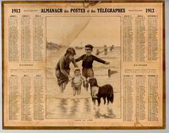 CALENDRIER GF 1912 - Bain De Mer, Enfant Et Le Chien, Imprimeur Oberthur Rennes - Big : 1901-20