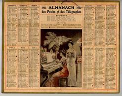 CALENDRIER GF 1913 - Piano Et Chant, Imprimeur Oberthur Rennes (calendrier Double Couverture) - Big : 1901-20