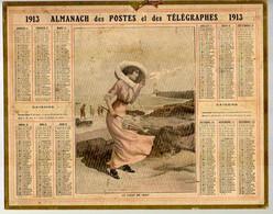 CALENDRIER GF 1913 - Coup De Vent En Bord De Mer, Imprimeur Oberthur Rennes - Big : 1901-20