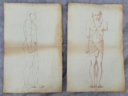 Ancien Travail De Dessin - Sculpture égyptienne - 2 Feuilles - Fin 18ème Siècle - Other