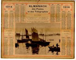CALENDRIER GF 1914 - Rayon Du Soir, Port De Camaret (tableau De Cottet), Imprimeur Oberthur Rennes - Big : 1901-20