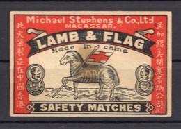MATCHBOX LABEL, CHINA, LAMB & FLAG, SAFETY MATCH - Matchbox Labels