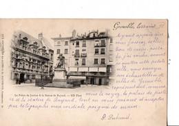 """GRENOBLE. Le Palais De Justice & La Statue De Bayard.  ND.phot. - 1898. """"Aux Souvenirs Des Alpes..."""" TBE. - Grenoble"""