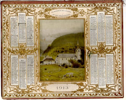 CALENDRIER GF 1913 - Chèvre Chevreau Et Abbaye En Montagne, Imprimeur Oberthur Rennes (calendrier Double Couverture) - Big : 1901-20