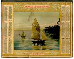 CALENDRIER GF 1914 - Calme Plat Au Golfe Du Morbihan, Imprimeur Oberthur Rennes (calendrier Double Couverture) - Big : 1901-20