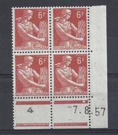MOISSONNEUSE N° 1115 - Bloc De 4 COIN DATE - NEUF SANS CHARNIERE - 7/8/57 - 1950-1959