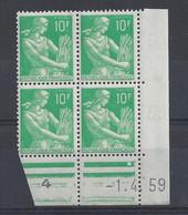 MOISSONNEUSE N° 1115A - Bloc De 4 COIN DATE - NEUF SANS CHARNIERE - 1/4/59 - 1950-1959