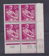 MOISSONNEUSE N° 1116 - Bloc De 4 COIN DATE - NEUF SANS CHARNIERE - 25/6/57 - 1950-1959