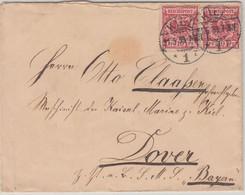 DR - 2x10 Pfg. K/A Brief Kiel - SMS Bayern (Dover - England) 21.5.1899 - Cartas