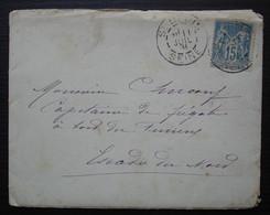 1891 Lettre Pour Le Capitaine De Frégate à Bord Du Furieux, Escadre Du Nord (navire De Guerre), Nom à Déchiffrer - 1877-1920: Periodo Semi Moderno