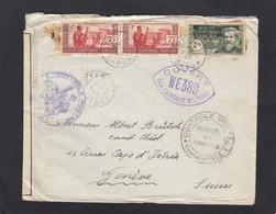 LETTRE D'OYEN,GABON POUR GENEVE ,OUVERTE PAR LA CENSURE MILITAIRE.1940. - Covers & Documents