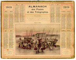 CALENDRIER GF 1919 - Rentrée De Pèche, Imprimeur Oberthur Rennes - Big : 1901-20