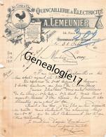 76 1599 GOURNAY EN BRAY SEINE INF 1918 Quincaillerie Electricite A. LEMEUNIER Place Nationaledest LEROY De Ferrieres - 1900 – 1949