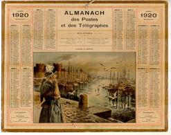 CALENDRIER GF 1920 - Goélands Et Goélettes (??Bretagne??), Imprimeur Oberthur Rennes - Big : 1901-20