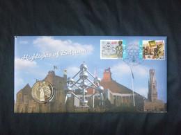 """BELG.2011 4098 & 4100 Numisletter TB, Muntbrief : """" Highlights Of Belgium """" - 2001-10"""