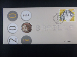 """BELG.2009 3879 Numisletter TB, Muntbrief : """" Louis Braille """" - 2001-10"""