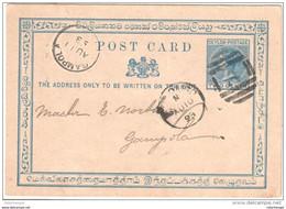 Ceylon Stationary Colombo To Gampola 1893 - Ceylon (...-1947)
