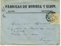 España 1887  Carta De GIJON Con 25c Ambulante DE ASTURIAS    Hasta Francia   EL731 - Cartas