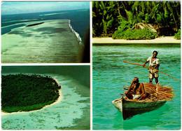 CPSM Maldives, Aerial Views, Maldives Island, Villingili ?, Multivue, Pêcheur, 1974 - Maldives