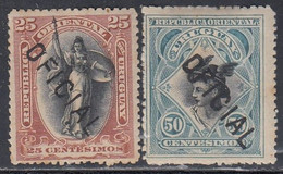 Uruguay, Scott #O73, O75, Mint Hinged, Regular Issue Overprinted, Issued 1895 - Uruguay