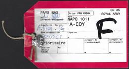 UNMEE 2001 NAPO 1011 Netherlands Eritrea Marines A-Coy Military Peacekeeping Mailbag Label - Eritrea