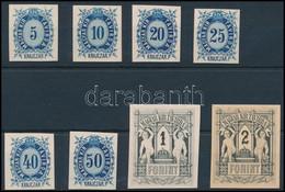 (*) 1874 Távirda Sor , Az Eredeti Nyomólemezről Készült Fogazatlan Próbanyomatok Kartonpapíron / Telegraph Stamps Mi 11- - Non Classificati