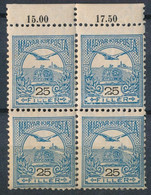 ** 1904 Turul 25f 2. Vízjelállás ívszéli Négyestömb, Felül Fogazógép Ugrás (88.000+++) - Non Classificati