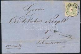 """1861 Helyi Levél (zöld) 3kr + Hátoldalán 5kr (szakadt / Teared) Bérmentesítéssel """"TEMESVÁR"""" - Non Classificati"""