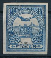 ** 1913 Turul 25f Vágott ívszéli Bélyeg Fekvő! Vízjellel (nem Került Kiadásra Fekvő Vízjellel!!), Erősen Eltolódott érté - Non Classificati