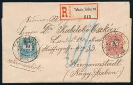 1893 Oltalsósebesen Megírt Ajánlott Levél Talmácson Postára Adva, Nagyszebenbe, Címoldali 5+10kr Bérmentesítéssel (OPM I - Non Classificati