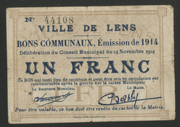 VILLE DE LENS  1 Fr De 1914 (plis) - Bons & Nécessité