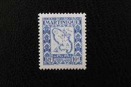 1947,MARTINIQUE TIMBRE-TAXE Y&T NO TA27 10C OUTREMER  CARTE DE L'ÎLE NEUF MH** TB - Timbres-taxe