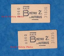 2 Tickets De Metro RATP Autobus Avec Numéros Qui Se Suivent - PARIS - 0060 - 2e Classe - B - 31835 31836 - Unclassified
