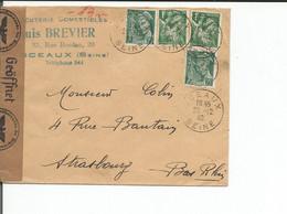 France, Lettre Censure 1940, Comestibles Louis Brevier Sceaux - Strassburg (26.12.1940) - Guerra Del 1939-45