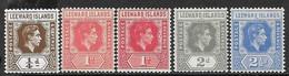 Leeward Islands   1938-49  Sc#103a, 105a, 105b, 107a, 108a   MH To The 2 1/2d   2016 Scott Value $27.40 - Leeward  Islands
