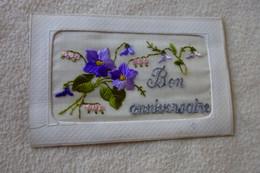 BELLE CARTE  BRODEE ...BELLES FLEURS ...BON ANNIVERSAIRE - Embroidered