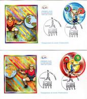 """"""" CHAMPIONNATS DU MONDE D'HALTEROPHILIE PARIS 2011 """".sur 2 Enveloppes 1er Jour De 2004 N°YT 4598 4599  Parfait état. FDC - Weightlifting"""