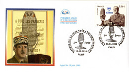 """"""" DE GAULLE : 70 ANS DE L'APPEL DU 18 JUIN 1940 """" Sur Enveloppe 1er Jour De 2010. N° YT 4493. Parfait état. FDC - De Gaulle (Generale)"""