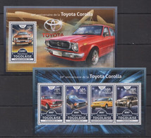 TG044 2016 TOGO TOGOLAISE TRANSPORT CARS 50TH ANNIVERSARY OF TOYOTA COROLLA KB+BL MNH - Voitures