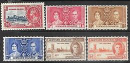 Leeward Islands  1935-7  Sc#96, 100-2, 118-9  6 Diff  MH  2016 Scott Value $3.75 - Leeward  Islands