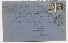 GANDON 3FR BRUNX2 LETTRE ANNEMASSE 2.V.1946 HTE SAVOIE POUR GENEVE TARIF FRONTALIER PEU COMMUN - 1945-54 Marianne (Gandon)
