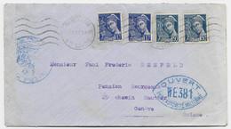 MERCURE 50C BLEUX2+10CX2 LETTRE ANNEMASSE 1939 POUR GENEVE CENSURE WE 381 TARIF FRONTALIER MANQUE 5C ?? - 1938-42 Mercurio
