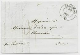 DOUBS BESANCON 1841 LETTRE POUR BAUDIN JURA TAXE 3 - 1801-1848: Precursors XIX