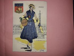 Carte Postale Brodée  - Paris -  Illustrée Par Béal - Borduurwerk