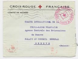FRANCE LETTRE COVER ENTETE CROIX ROUGE COMITE DE NEVERS NIEVRE 29.IX.1940  POUR GENEVE CICR + CENSURE NAZI - Red Cross