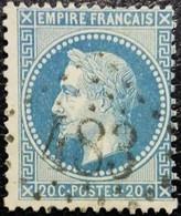 N°29B. Napoléon 20c Bleu. Oblitéré Losange G.C. N°483 Bischwiller/Les Pilles - 1863-1870 Napoleone III Con Gli Allori