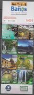 ECUADOR, 2019, MNH, TOURISM, BAÑOS DE AGUA SANTA, WATERFALLS, MOUNTAINS, BRIDGES, CATHEDRALS, THERMAL WATERS, BOOKLET - Altri