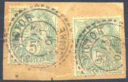 France N°111 (x2) Sur Fragment  TAD Perlé ST VICTOR 1901 - (F1905) - 1900-29 Blanc