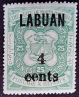 Borneo 1899 Armoiries Arms Surchargé Overprinted LABUAN 4 Cents Yvert 101 * MH - Nordborneo (...-1963)