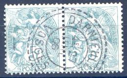 France N°111 (paire) TAD Perlé Darnieulles, Vosges 27.7.1906 - (F1910) - 1900-29 Blanc